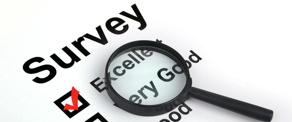 Magnifying glass with survey ranking