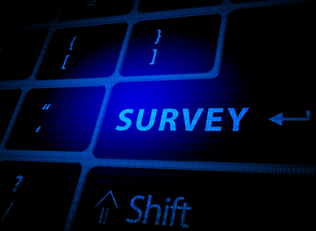 Keyboard with the word survey